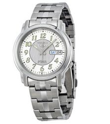Seiko 5 Easy Reader Automatic White Dial Stainless Steel Mens Watch SNKL89