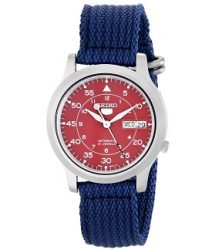 """Seiko Men's SNKM95 """"Amazon Exclusive"""" Stainless Steel Automatic Watch with Blue Canvas Band"""