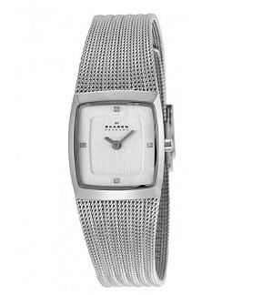 Đồng hồ nữ Skagen Trine Chrome Square Dial Stainless Steel Mesh Ladies Watch 380XSSS1