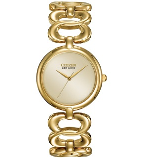 Citizen Womens EM0222-58P Silhouette Eco-Drive Gold Tone Link Bracelet Watch