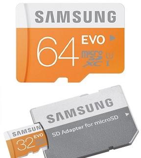 Samsung 32/64GB EVO Class 10 Micro SDHC/SDXC