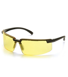 Pyramex Surveyor Safety Glasses, Black Frame Amber Lens