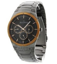 Skagen Men's 596XLTRXM Quartz Chronograph Titanium Black Dial Watch