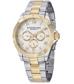"Stuhrling Original Men's 774G.01 Symphony Regent ""Regal"" 23k Yellow Gold Plating and Stainless Steel Two-Tone Watch"