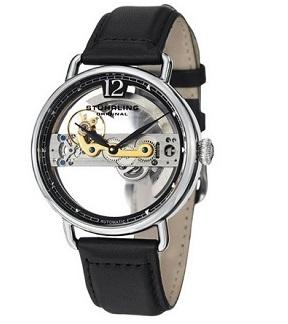 Stuhrling Original Men's 465.33151 Symphony Aristocrat Bridge Automatic Skeleton Black Leather Band Watch