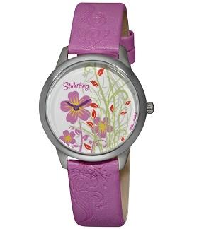Stuhrling Original Women's Bouquet Purple Genuine Leather