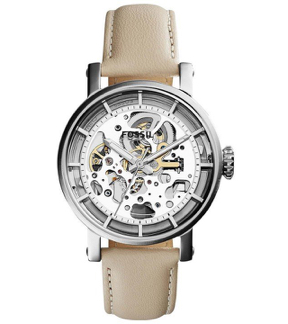Fossil ME3069 Boyfriend Automatic Skeleton Dial Beige Leather