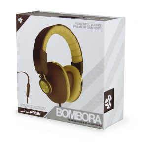 JLab Bombora Over-Ear Headphones with Universal Mic, Matte Brown/Gold