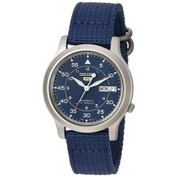 Seiko Men's SNK807 Seiko 5 Automatic Stainless Steel Watch with Blue Canvas Band