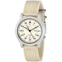 Seiko Men's SNK803 Seiko 5 Automatic Watch with Beige Canvas Strap
