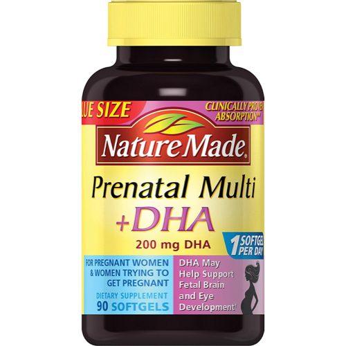 Nature Made PrenatalMulti + DHA 200 Mg Softgels, Value Size, 60 + 30 Liquid softgels