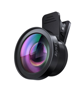 AUKEY Ora iPhone Camera Lens, 0.55x 120° Wide Angle + 15x Macro Clip-on Cell Phone Camera Lenses Kit for Samsung, Android Smartphones, iPhone