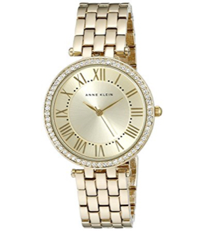 Anne Klein Women's AK/2230CHGB Swarovski Crystal Accented Gold-Tone Bracelet Watch