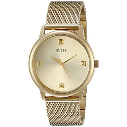 GUESS Men's U0280G3 Dressy Gold-Tone Watch with Plain Gold Dial and Mesh Deployment Buckle