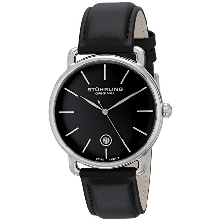 Stuhrling Original Ascot Mens Black Watch - Swiss Quartz Analog Date Wrist Watch for Men - Stainless Steel Mens Designer Watch with Black Leather Strap 768.02