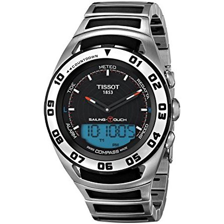 Tissot Men's 'Sailing Touch' Black Dial Stainless Steel/Rubber Multifunction Watch T056.420.21.051.00