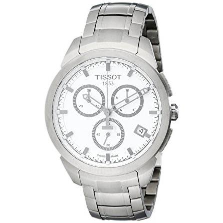 Tissot Men's T0694174403100 Quartz Titanium White Dial Chronograph Watch