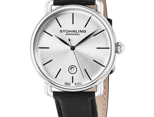 Stuhrling Original Ascot Mens Designer Watch - Swiss Quartz Silver Dial Date Wrist Watch for Men - Stainless Steel Analog Watch with Black Leather Strap 768.01