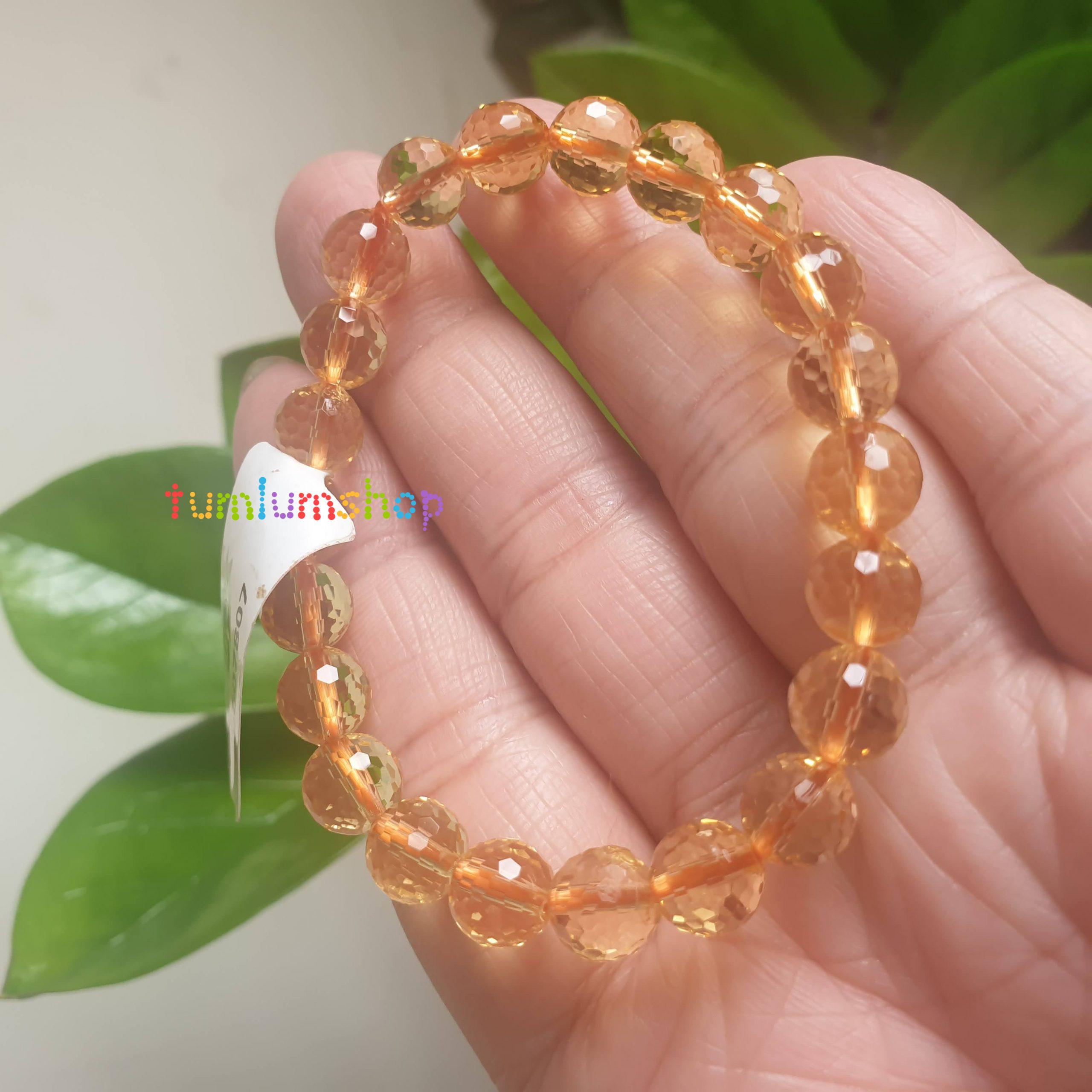 Vòng đeo tay Đá phong thuỷ Thạch Anh vàng cắt giác - Đá tự nhiên 100% trong suốt