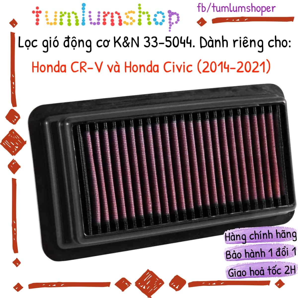 Lọc gió động cơ KN cho Honda CR-V và Honda Civic Mã KN 33-5044